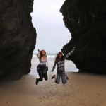 Exploring gigantic rocks at Bedruthan Steps